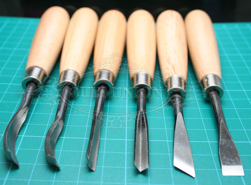 Hand Chisels Wood Carving cut 6pcs Set DIY For Leather Woodcut Working ...