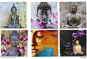 6x xl buddha wandbild leinwand keilrahmen bild bilder 40x40 cm thailand bangkok ebay. Black Bedroom Furniture Sets. Home Design Ideas