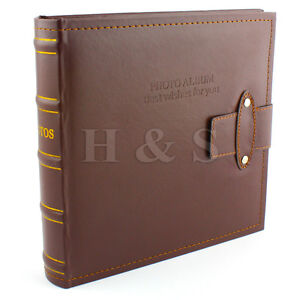 6x4-200-Photos-Large-PU-Leather-Slip-in-Photo-Album-Brown-Vintage-Memo-Book-A