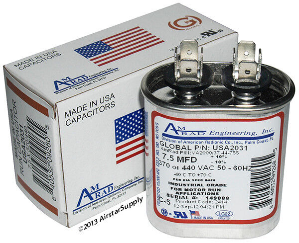 7 5 uf mfd x 370 or 440 vac oval run capacitor usa2031 for 370 volt 10 mfd motor run oval capacitor