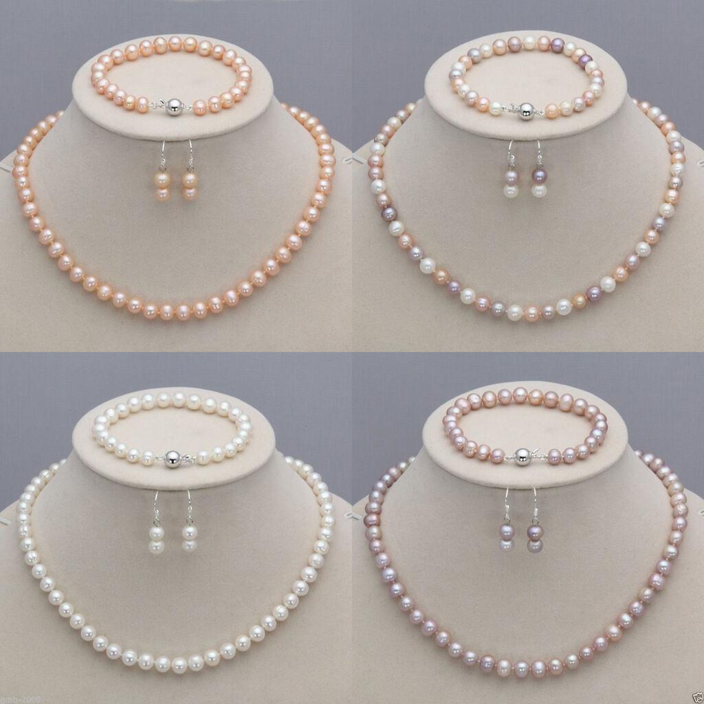 7 8mm real natural freshwater pearl necklace bracelet. Black Bedroom Furniture Sets. Home Design Ideas