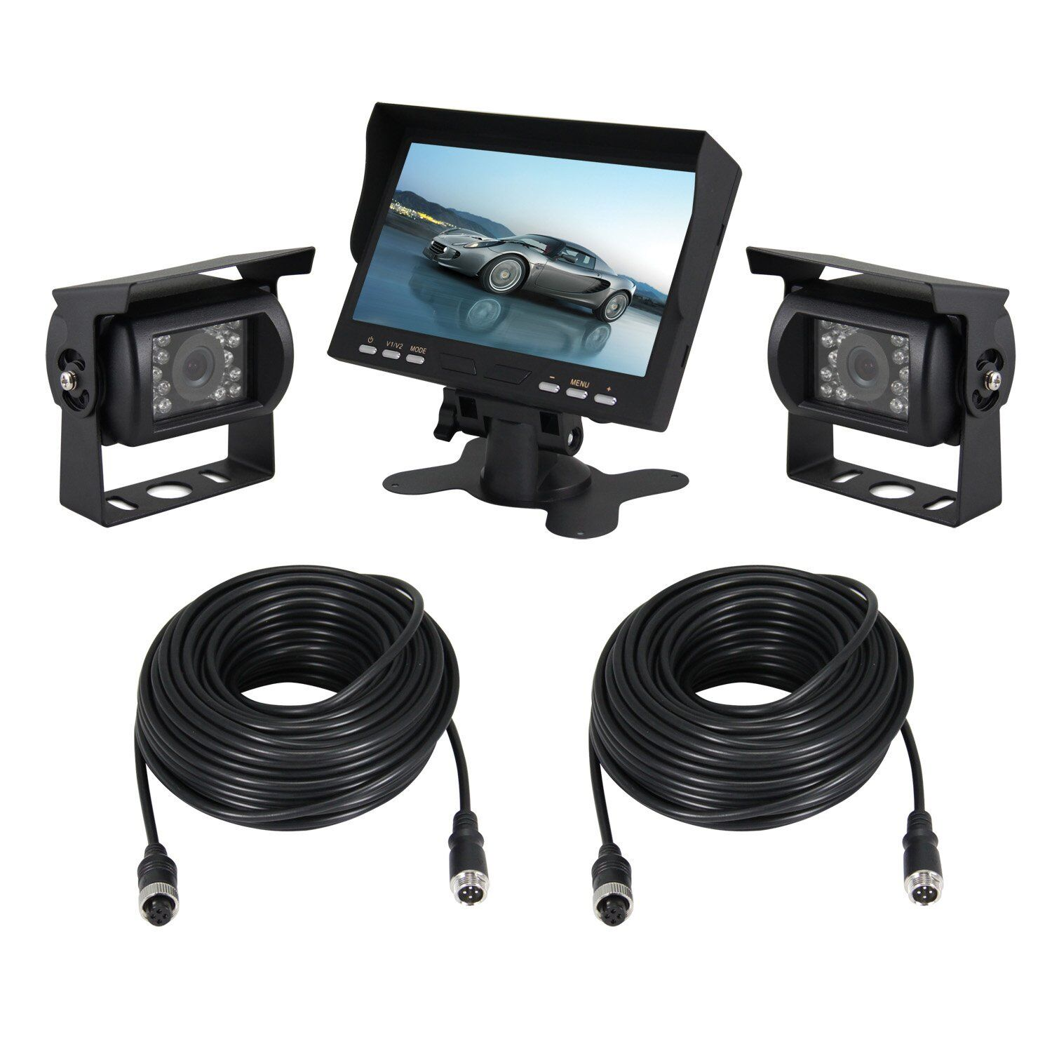 esky 7 tft monitor waterproof car rear view night vision backup 2 camera system ebay. Black Bedroom Furniture Sets. Home Design Ideas