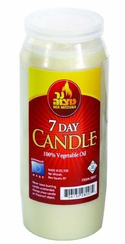 7 day memorial candle made out of vegetable oil for Different brands of candles