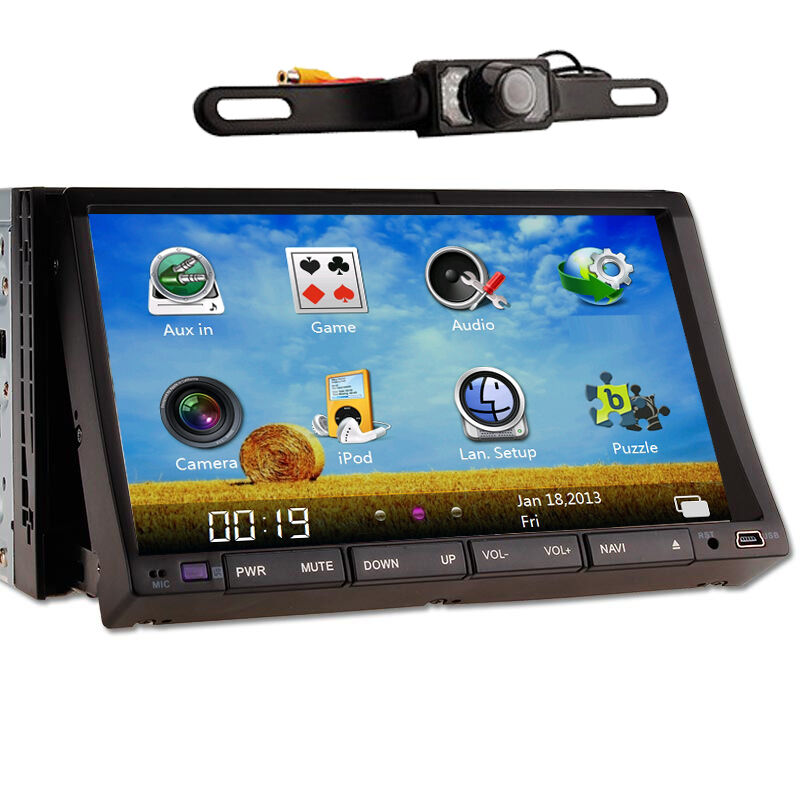 """7""""Double DIN Car Audio Stereo DVD Player TV Free Camera"""