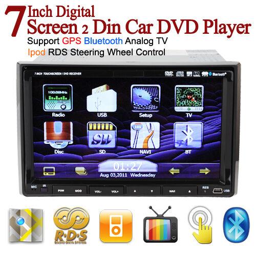 Double Din Indash Car DVD Player GPS Navigation Ipod TV Bluetooth