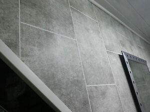 7 Grey Tile Effect PVC Bathroom Wall Panels Interior Wall Cladding Shower W
