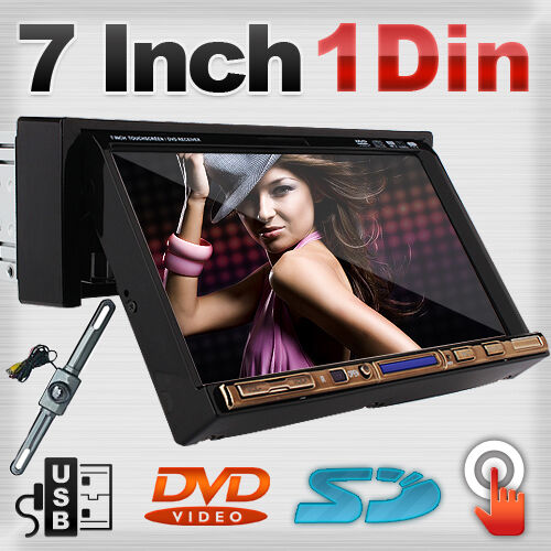 Touch Screen One 1 DIN Indash Car Stereo CD DVD Player Camera