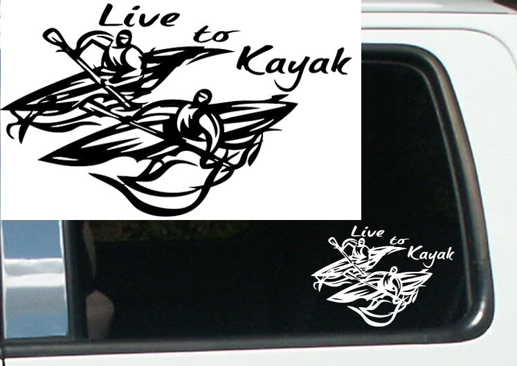 "7"" Live to Kayak Tribal Design Vinyl Decal Sticker Car Truck Window Funny RN 14"