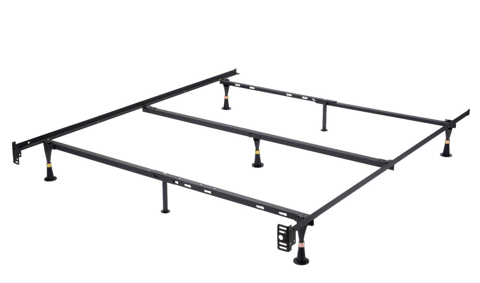 7 leg heavy duty metal queen size bed frame with center