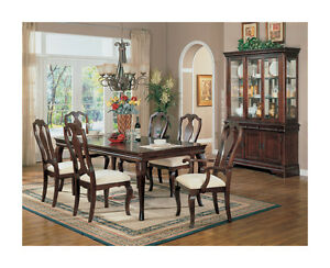 7 pc high end brown cherry finish dining room set table for High end dining room furniture
