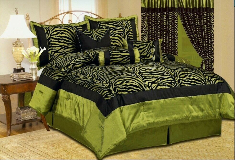 Whole home design green comforter sets Green and black bedroom