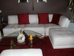 7 Piece Leather Modular Sectional Sofa Living Room Set W 2 Ottomans White ECU