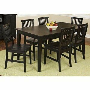 7 piece rectangular dining room table chair seat kitchen for Black kitchen table set