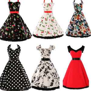 7 stil rockabilly 50er 60er jahre kleid pin up abendkleid karneval ballkleider ebay. Black Bedroom Furniture Sets. Home Design Ideas