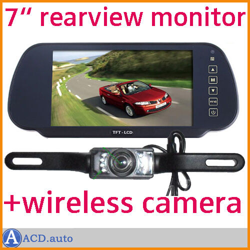 TFT LCD Car mirror Rearview Monitor and 2.4G wireless night vision