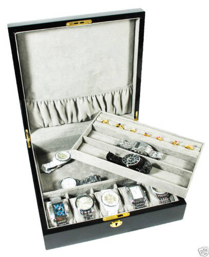 7 WRISTWATCH BLACK JEWELRY DISPLAY WATCH CASE BOX