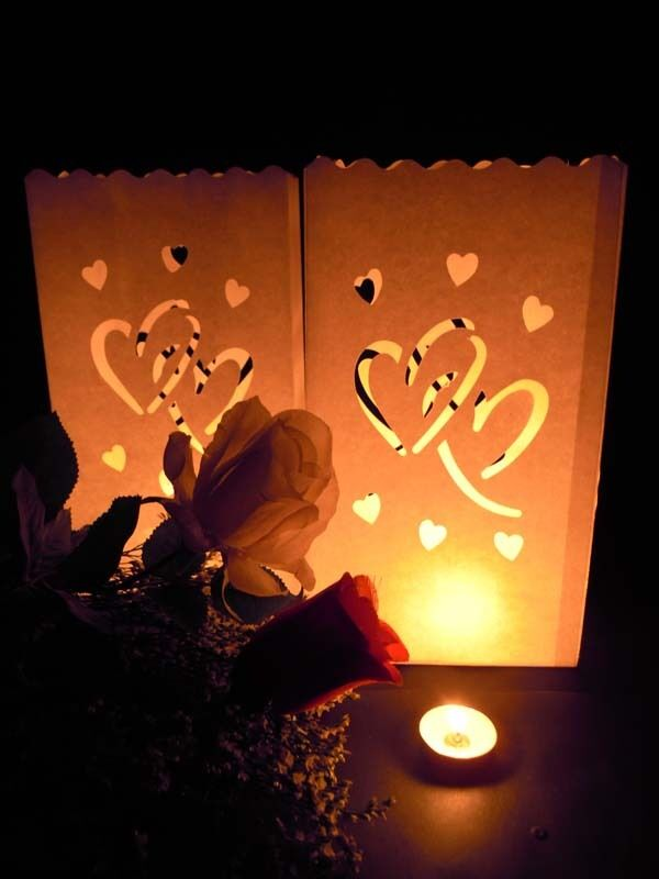 70 Love Hearts Wedding Event Candle White Paper Bag Lantern Reception