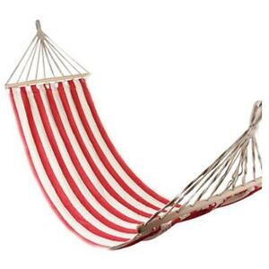 """78.78"""" x 31.5"""" Camping Leisure Canvas Hammock Stripes Outdoor Red and White"""