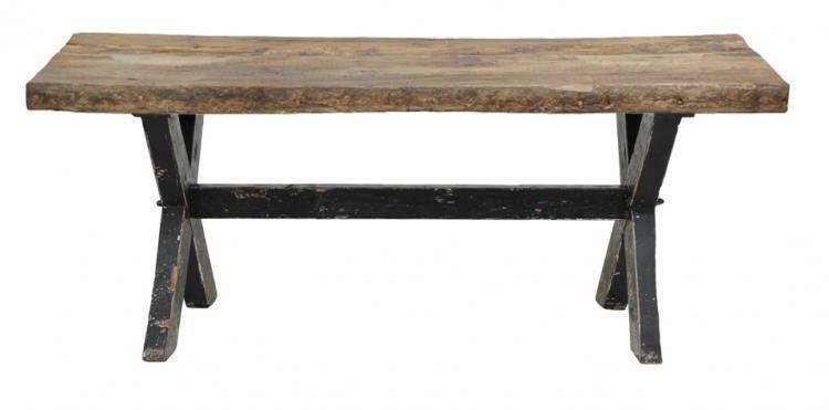 Dining Table Solid Reclaimed Old Vintage Wood Black Distress Legs