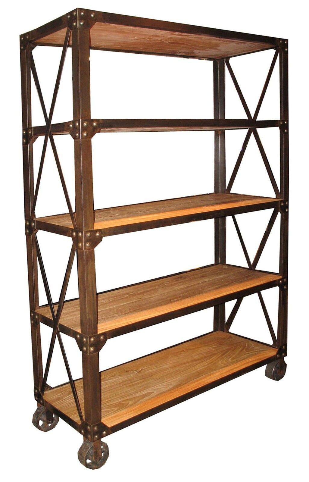 78 tall bookcase elm wood 5 shelves rusty metal on. Black Bedroom Furniture Sets. Home Design Ideas