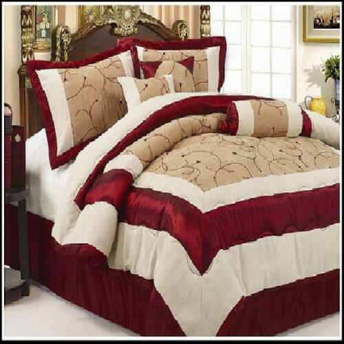 7PC CLEOPATRA SUEDE BED IN A BAG QUEEN SIZE COMFORTER BEDDING SET BURGUNDY BEIGE in Home & Garden, Bedding, Bed-in-a-Bag | eBay