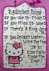 ... HELLO KITTY BATHROOM RULES SIGN Girl Plaque Kids Decor Handcrafted