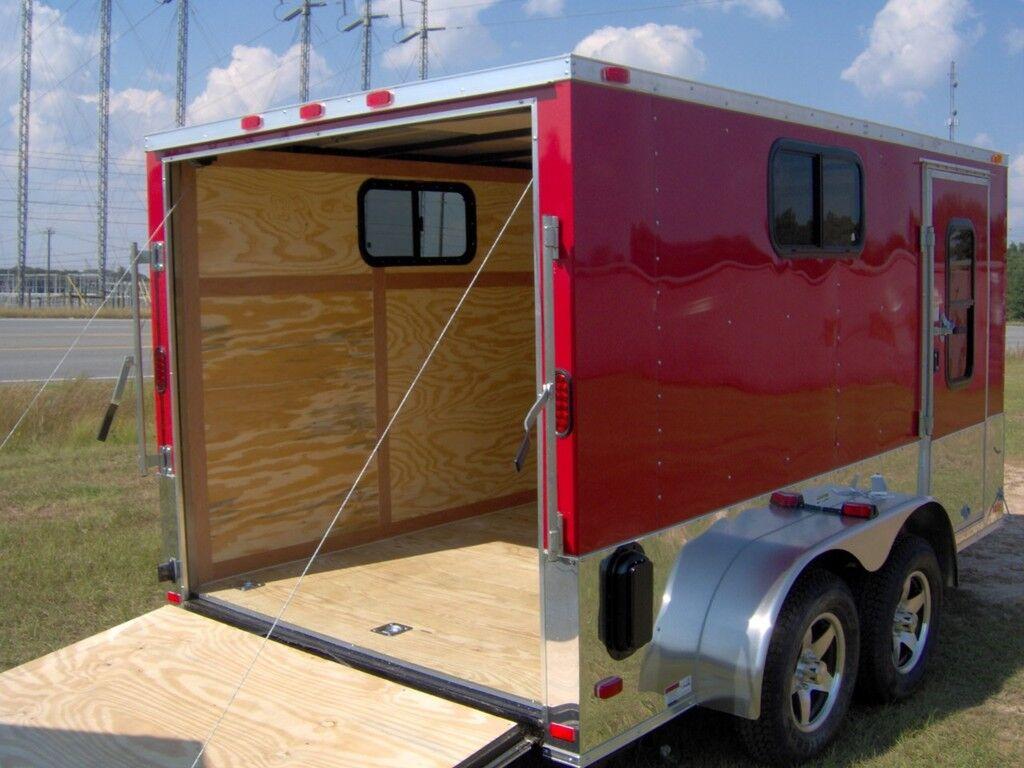 7x12 enclosed cargo motorcycle camper trailer 3 windows