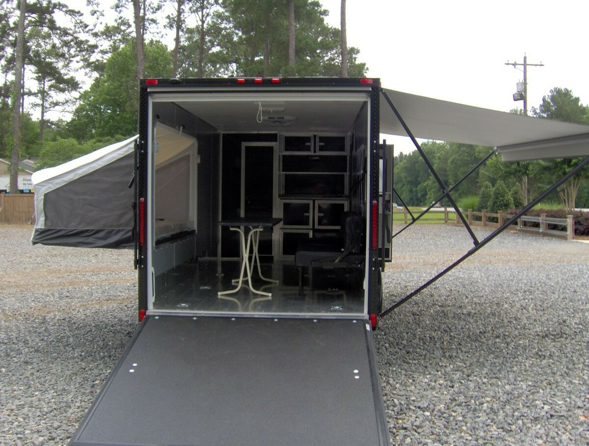 7x18 camper Enclosed Motorcycle Cargo Trailer Toy Hauler A C Work and Play VRV