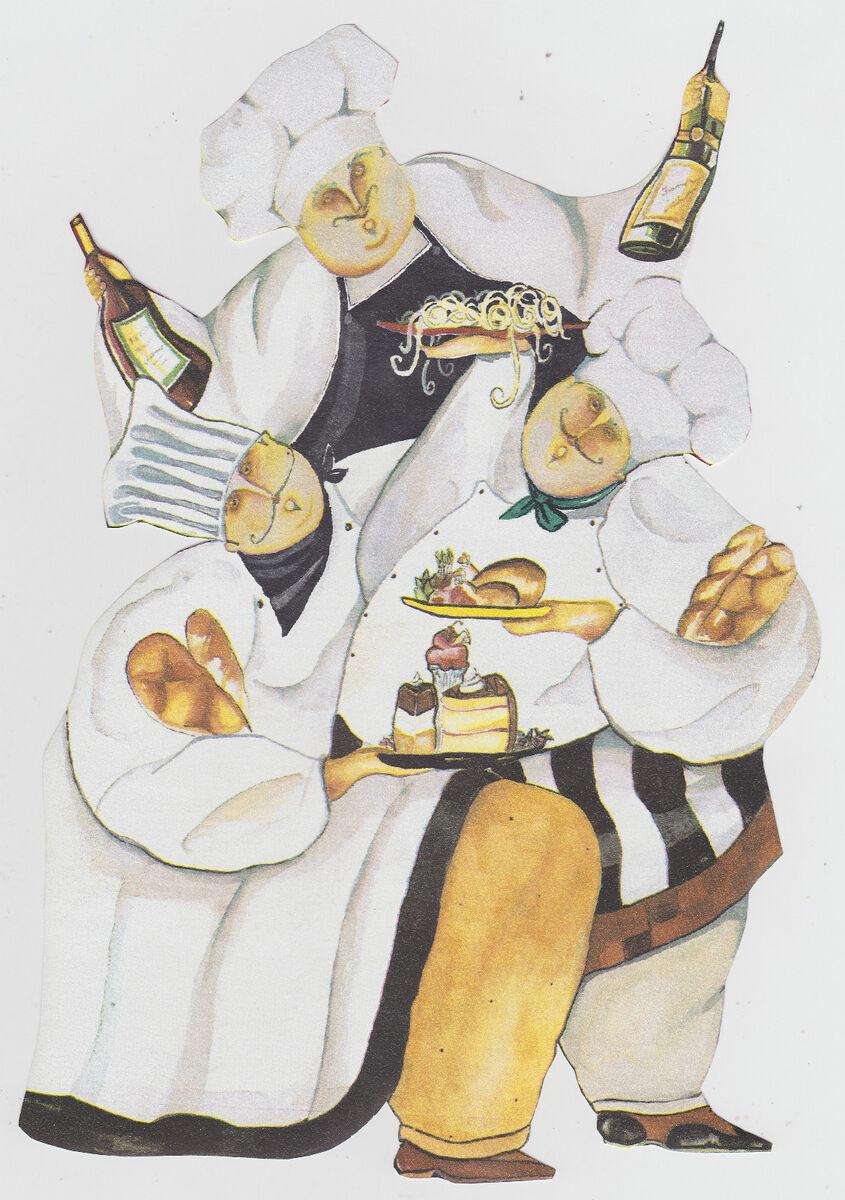 Fat Italian Chef Kitchen Wall Decor Wallpaper Border Character
