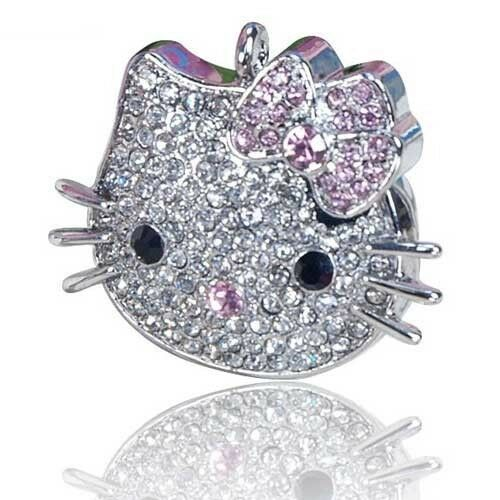 8 GB Hello Kitty Crystal Jewelry USB Flash Memory Drive Necklace Memory Stick