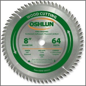 8 inch 64t fine cut carbide tipped tip wood cutting miter for 12 inch table saw blades