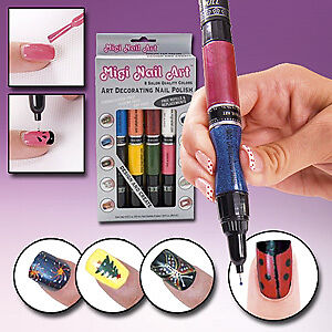 Kit Migi Nail Art Salon Polish Pen Brush Design as Seen on TV