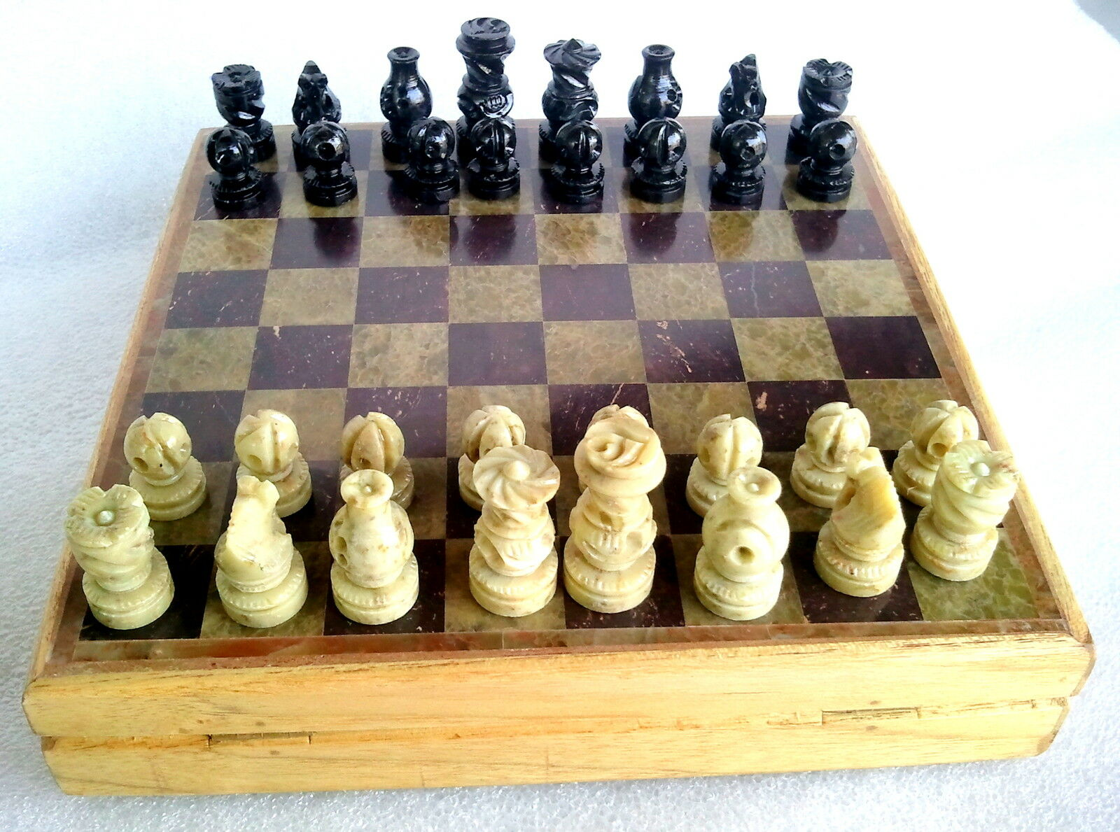 8 x 8 collectible indian marble chess game board set stone crafted pieces ebay - Granite chess pieces ...