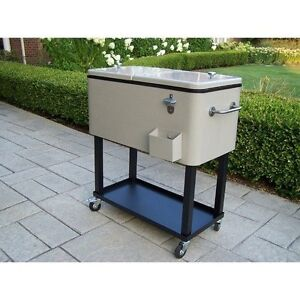 80 quart steel party cooler rolling patio ice chest cart outdoor