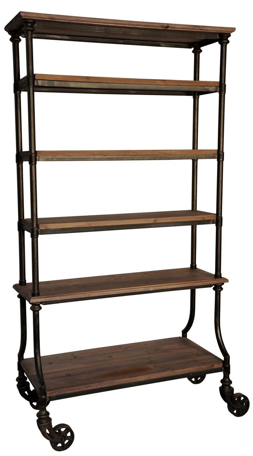 82 tall bookcase nat wood 6 shelves rusty metal on. Black Bedroom Furniture Sets. Home Design Ideas