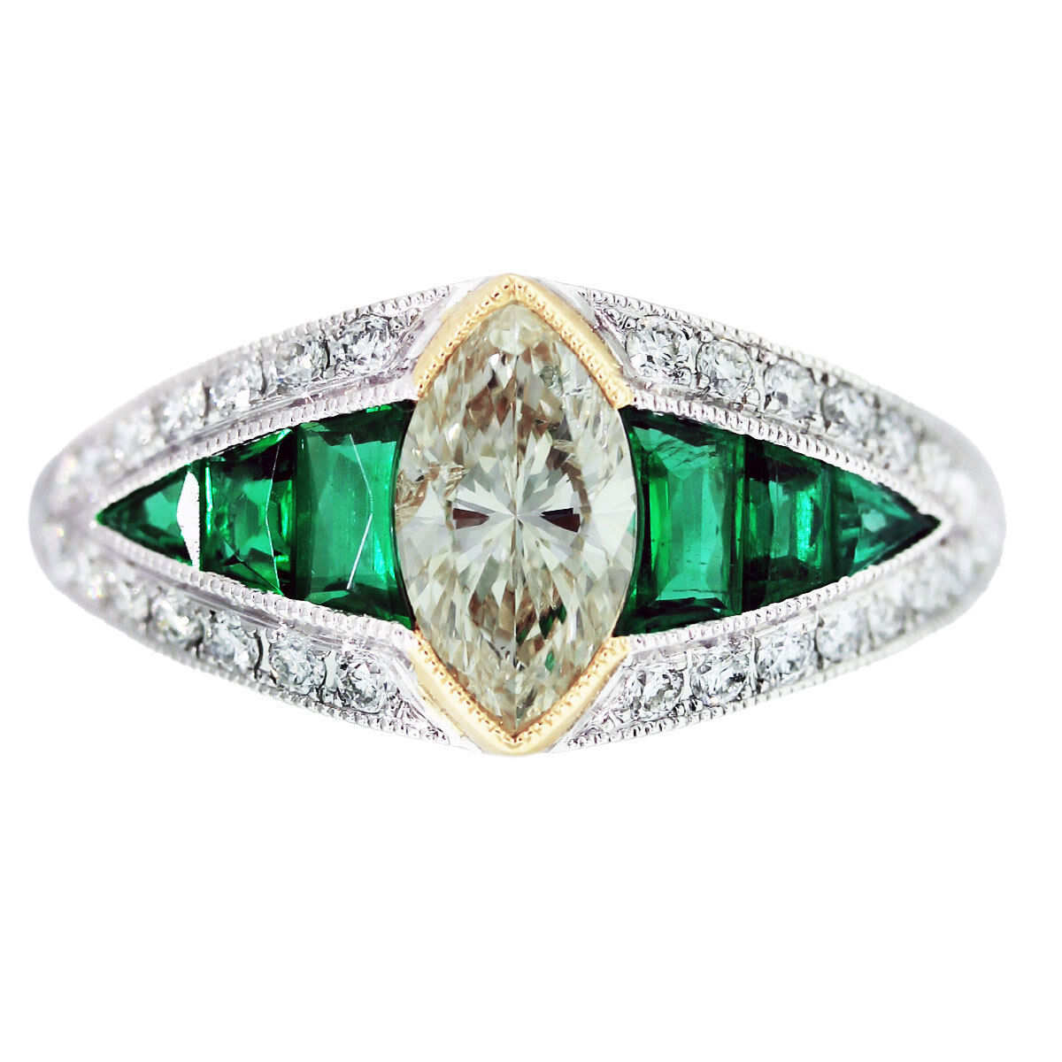 .86 Ct Diamond, Emerald, Platinum, and Yellow Gold Vintage Style Engagement Ring