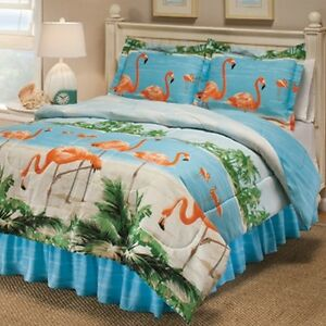 Flamingo Palm Tree Beach King Comforter Sheet Bed In A Bag Set