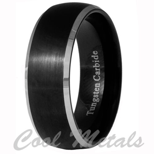 8mm Black Brushed Tungsten Carbide Men/Women Ring Wedding Band Size 7-15 in Jewelry & Watches, Men's Jewelry, Rings | eBay
