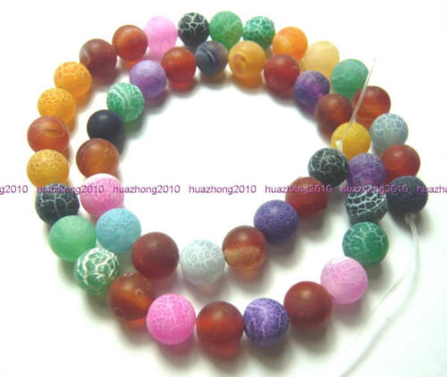 "8mm Colorful Frosted Agate Round Beads 14.5"" .TY848 in Crafts, Beads & Jewelry Making, Beads, Pearls & Charms 