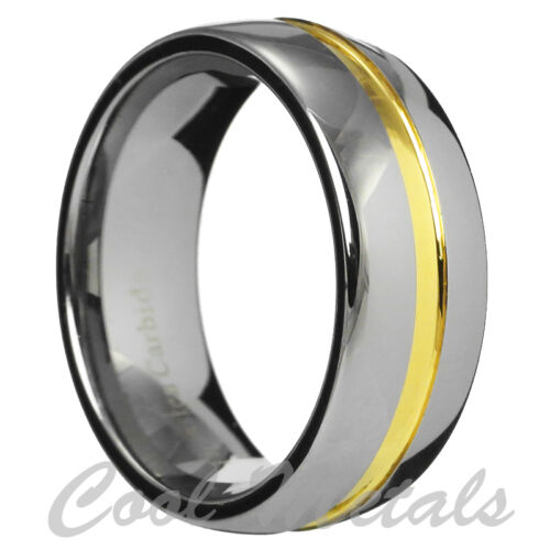 8mm Gold Grooved Tungsten Carbide Ring Men/Women Wedding Ring Band Size 7-15 in Jewelry & Watches, Men's Jewelry, Rings | eBay