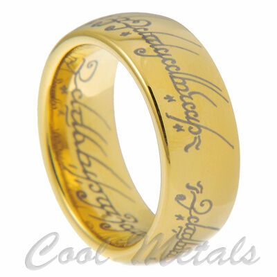 8mm Tungsten Carbide Gold Lord of the Rings Size 7 8 9 10 11 12 13 14 15 in Jewelry & Watches, Men's Jewelry, Rings | eBay