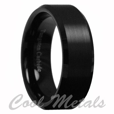 8mm Tungsten Carbide Men's Black Brushed Stripe Comfort Fit Band Ring Size 7-15 in Jewelry & Watches, Men's Jewelry, Rings | eBay