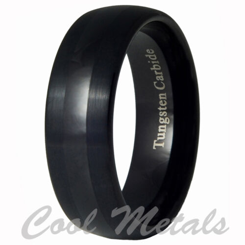 8mm Tungsten Carbide Mens Brushed & Polished Black Wedding Band Ring 7-15 in Jewelry & Watches, Men's Jewelry, Rings | eBay