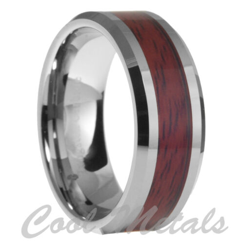 8mm Tungsten Carbide Mens Wood Inlay Beveled Edges Wedding Band Ring Size 6-13 in Jewelry & Watches, Men's Jewelry, Rings | eBay
