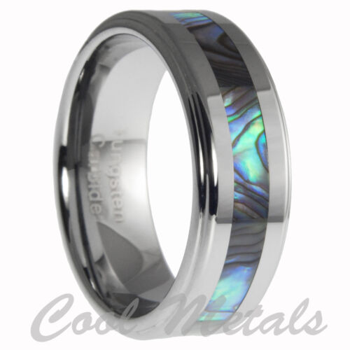 8mm Tungsten Ring With Abalone Shell Inlay Mens Wedding Ring Band Size 7-15 in Jewelry & Watches, Men's Jewelry, Rings | eBay