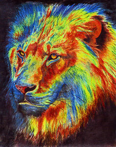 Colorful lion painting - photo#36