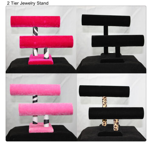 "9"" 2 Tier Jewelry Hard Display Stand Holder Bracelet Chain Bangle Watch T-bar in Jewelry & Watches, Jewelry Boxes & Organizers, Jewelry Holders & Organizers 