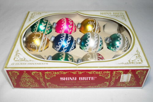 9 Vintage SHINY BRITE Mercury Glass Christmas Ball Ornaments w/ Glitter In Box in Collectibles, Holiday & Seasonal, Christmas: Modern (1946-90) | eBay