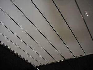 9 White V Groove Silver Strip Ceiling Cladding, Bathroom ...