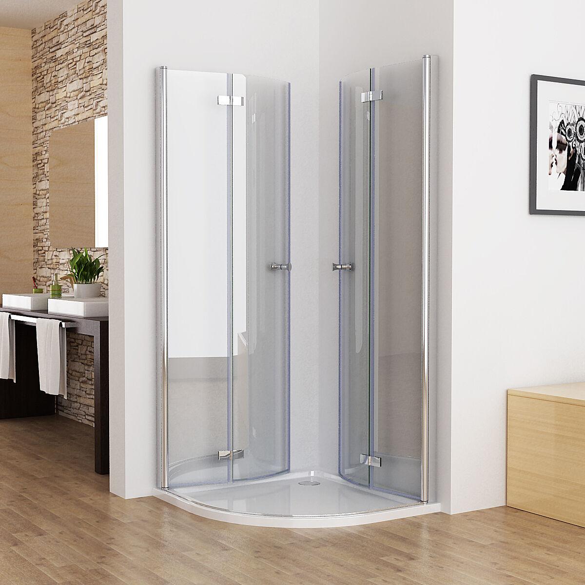 duschkabine runddusche duschabtrennung echtglas viertelkreis faltt r 80x80 90x90. Black Bedroom Furniture Sets. Home Design Ideas